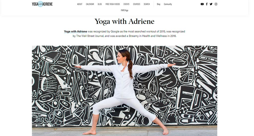 Yoga with adriene website